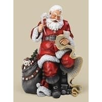 "16.5"" Red and White Santa with Gift Bag & List Christmas Tabletop Figure"