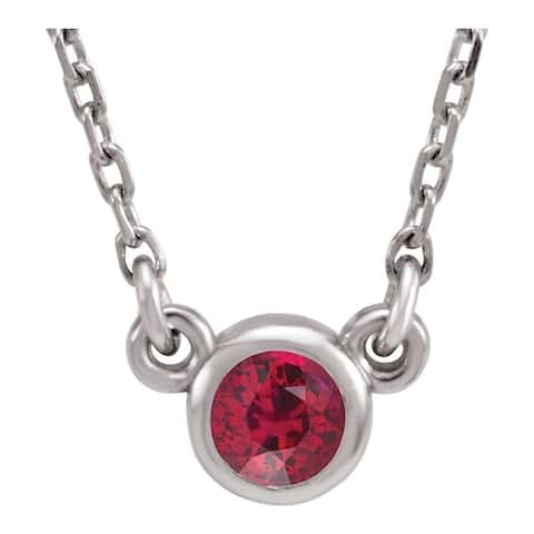 """Rhodium-Plated 925 Sterling Silver 3 mm Round Lab-Created Ruby Solitaire 16"""" Necklace"""