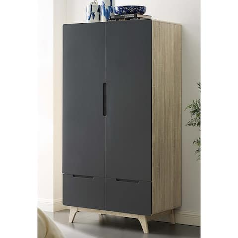 Tolmino Grey and Natural Wooden Wardrobe - Armoire with Drawers