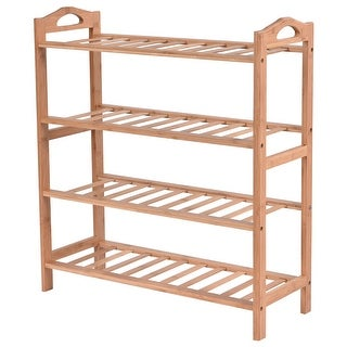 Costway 4 Tier Bamboo Shoe Rack Entryway Shoe Shelf Holder Storage Organizer Furniture