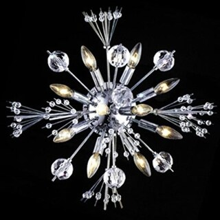 """Worldwide Lighting W23111C20 Starburst 10 Light 20"""" Wall Sconce in Chrome with Clear Crystals"""