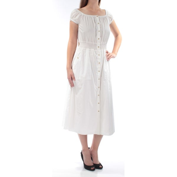 e4933d7b01 Shop RACHEL ROY Womens White Short Sleeve Scoop Neck Midi Dress Size  8 -  On Sale - Free Shipping On Orders Over  45 - Overstock - 21688500