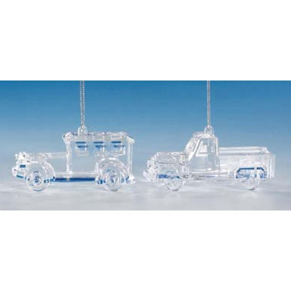 """Club Pack of 12 Icy Crystal Decorative Truck Ornaments 2"""" - CLEAR"""