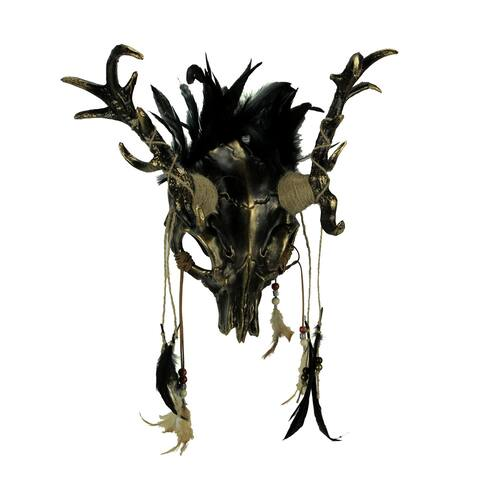 Metallic Tribal Skull Demon Deer with Feathers Adult Halloween Mask - 15 X 15 X 6.25 inches