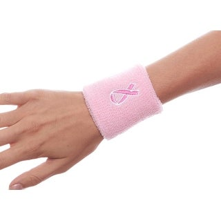 Embroidered Wristbands for Breast Cancer Awareness Set of 2