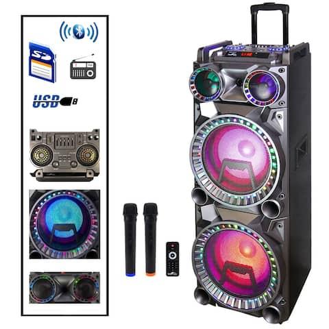 beFree Portable BT 10 inch double subwoofer speaker system