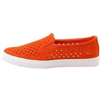 Lacoste Women's Gazon 216 1 Slip-On,Orange/White Suede,US 7.5 M