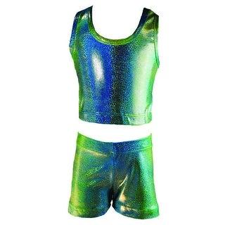 Reflectionz Girls Lime Blue Iridescent Two Tone 2 Pc Shorts Set