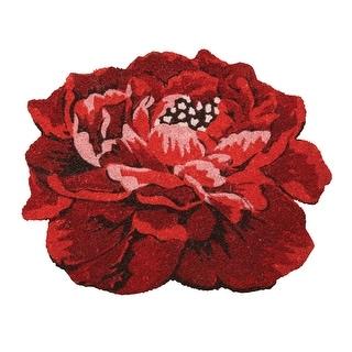 """Peony Doormat - Red Flower Foot Wipe - 20"""" x 25"""""""