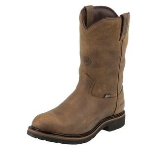Justin Work Boots Mens Worker II Wyoming Western Waterproof Tan WK4980