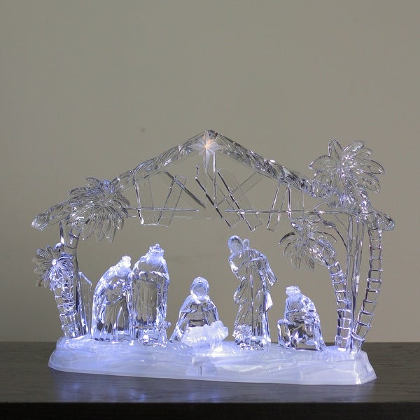 """14.5"""" Icy Crystal LED Lighted Holy Family in Manger Christmas Nativity Figure - CLEAR"""