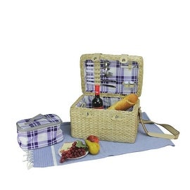 2-Person Hand Woven Natural Seagrass Picnic Basket Set with Accessories