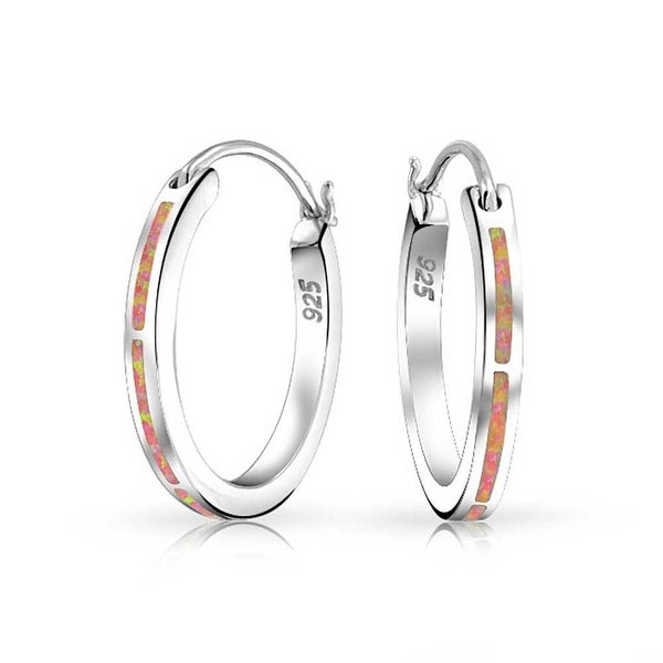 55d75a0ae Shop 925 Silver Hoop Earrings Lab Created Pink Opal October Birthstone  Rhodium Plated - On Sale - Free Shipping On Orders Over $45 - Overstock -  17988128