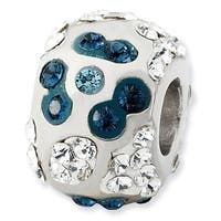 Sterling Silver Reflections White & Grayish Blue Crystal Flower Bead