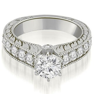 1.55 CT.TW Antique Cathedral Round Cut Diamond Engagement Ring in 14KT - White H-I
