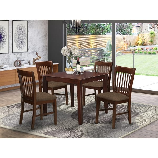 Mahogany Square Table And 4 Chairs 5 Piece Dining Set Overstock 10201135