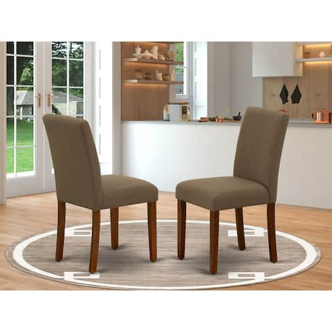 East West Furniture ABP3T18 Abbott Parson Chair with Mahogany Leg and Linen Fabric Coffee, Set of 2