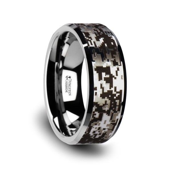 Thorsten Stealth Tungsten Carbide Wedding Ring With Engraved Digital Camouflage