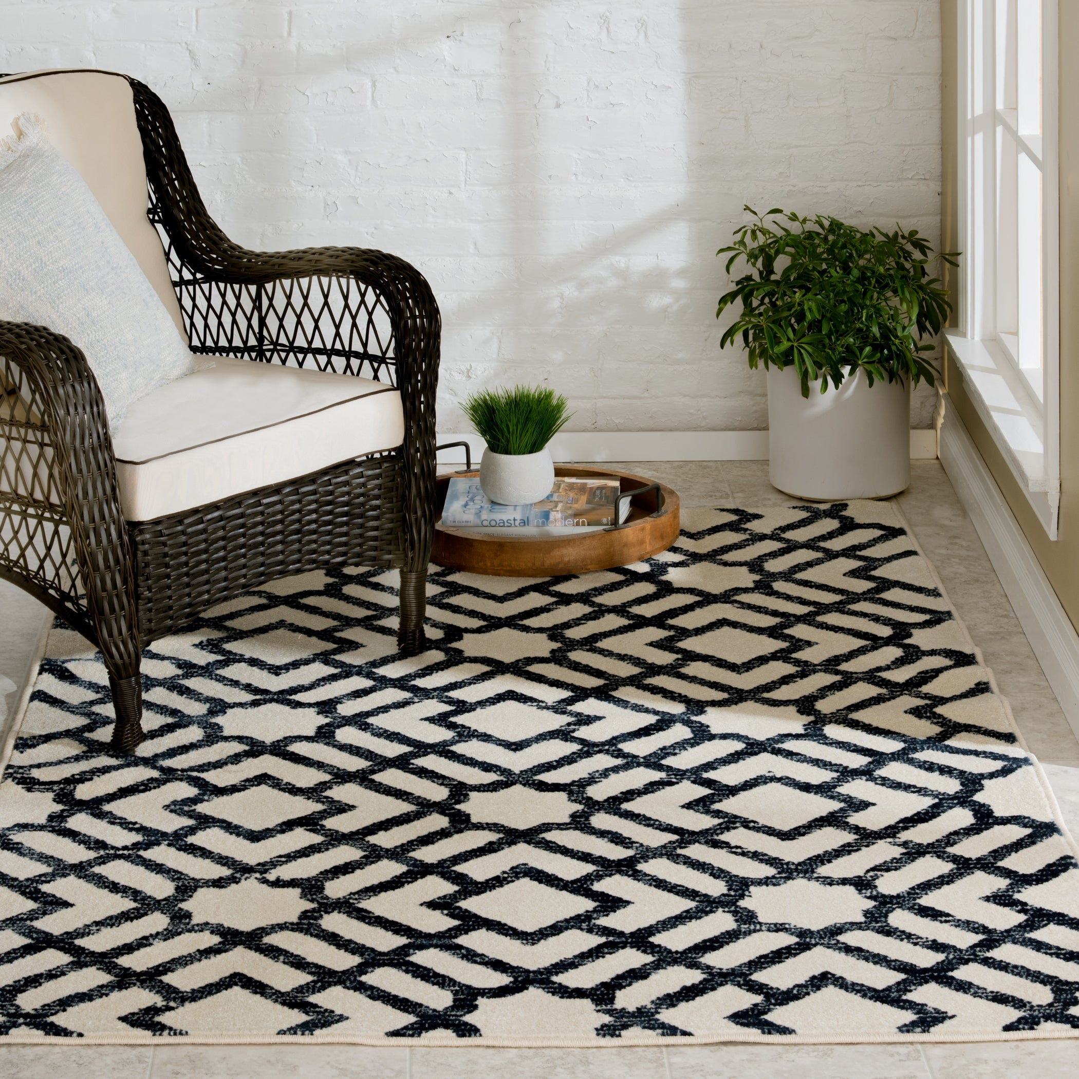 Trisha Yearwood Home Newell Snow Sapphire Indoor Outdoor Area Rug Overstock 31476000