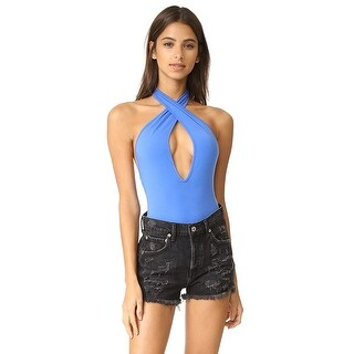 Free People Under The Sun Cutout Halter Thong Bodysuit Mystic Blue - xs