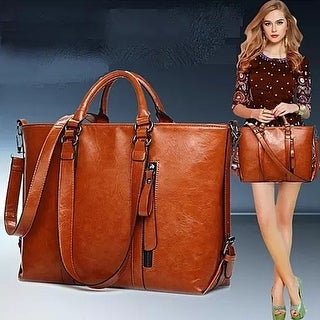Women Leather Tote Messenger Bag