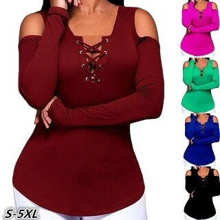 Fashion Long Sleeve Casual Strapless Solid Color Women Top T -shirt