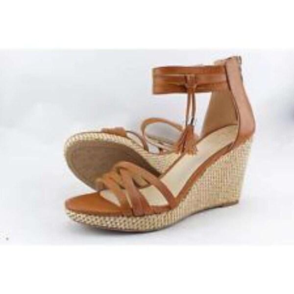Ann Marino Womens Cora Open Toe Casual Platform Sandals, Tan, Size 8.5
