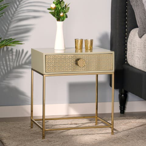 Ellome Modern Glam Handcrafted Scroll Mesh Nightstand by Christopher Knight Home