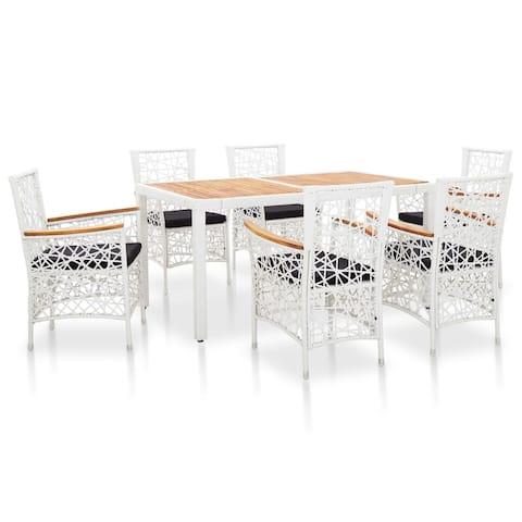 vidaXL 7 Piece Outdoor Dining Set Poly Rattan White