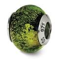 Italian Sterling Silver Reflections Green/Black Bead (4mm Diameter Hole) - Thumbnail 0