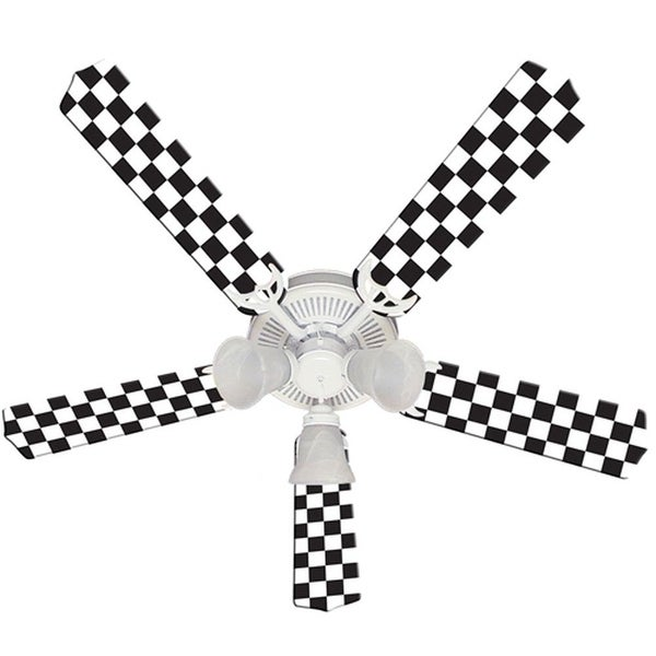 Checkered Flag Print Blades 52in Ceiling Fan Light Kit - Multi