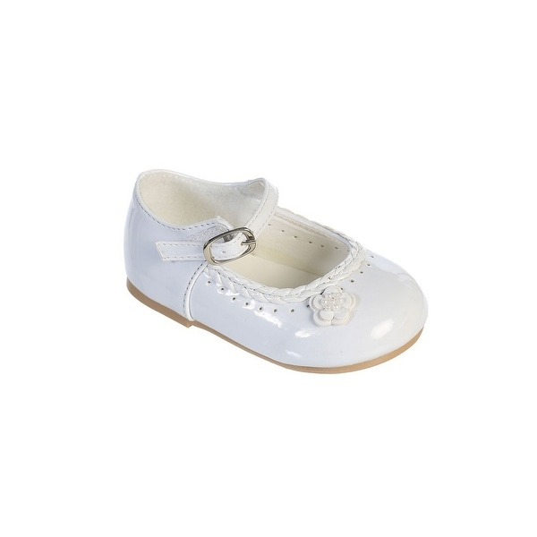 e2c9a2afbe25 Shop Little Girls White Braided Edging Flower Patent Leather Dress ...
