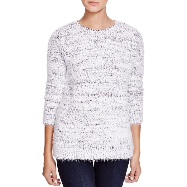 Calvin Klein Womens Pullover Sweater Eyelash Fringe Crew Neck