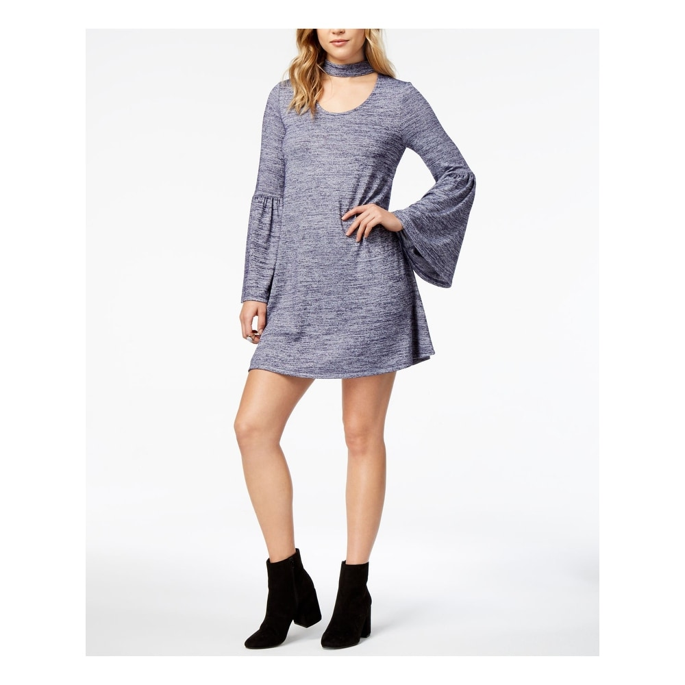 X-Large Kensie Womens Lantern-Sleeve Sweater Dress Grey