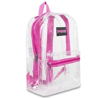 "Trailmaker Girls Pink Padded Straps Classic Clear Backpack 15""x10.6""x5"""