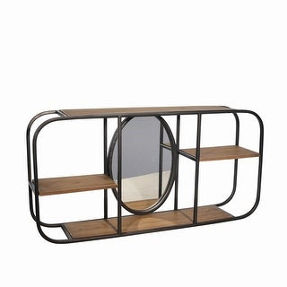 Rectangular Wood and Metal 3 Tier Wall Shelf with Mirror, Brown and Black