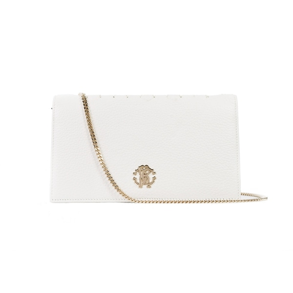 Roberto Cavalli White Leather Logo Wallet Shoulder Bag