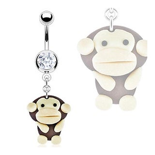 Stainless Steel Navel Belly Button Ring with Hardened Clay Monkey Dangle