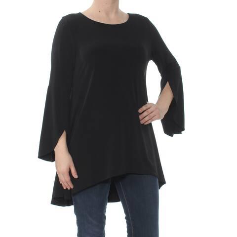 ALFANI Womens Black Tulip Sleeve Jewel Neck Top Size: S
