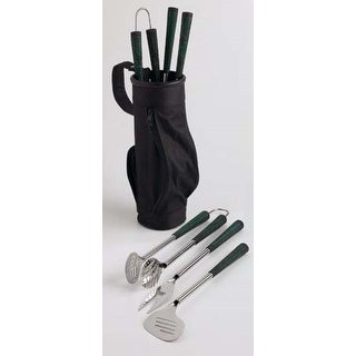 3-Piece Golf Bag and Clubs Outdoor Barbecue Tool Set - Silver