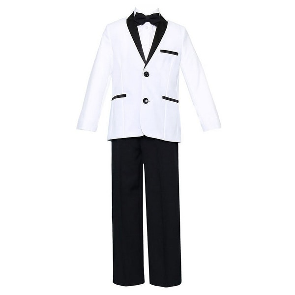 Big Boys White Black 4 Pcs Shirt Bow Pants Jacket Slim Fit Tuxedo