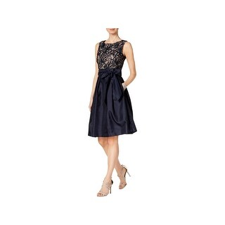 Jessica Howard Womens Petites Cocktail Dress Embroidered Mesh Inset