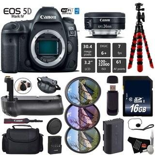 Canon EOS 5D Mark IV DSLR Camera with 24mm f/2.8 STM Lens + Tripod + Professional Battery Grip + Card Reader - Intl Model