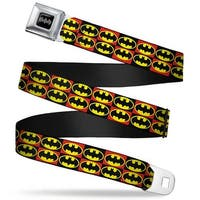 Batman Black Silver Batman Shield Checkers Black Fluorescent Red Webbing Seatbelt Belt