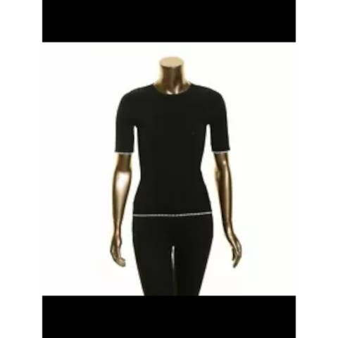 INC Womens Black Ribbed Solid Short Sleeve Jewel Neck Sweater Size S