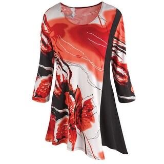 Women's Tunic Top - Bold Iris Print Bias Cut Hem 3/4 Sleeve - Red/Black