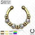 316L Surgical Steel Fake Septum Hanger 4 Crystals (Sold Ind.) - Thumbnail 0
