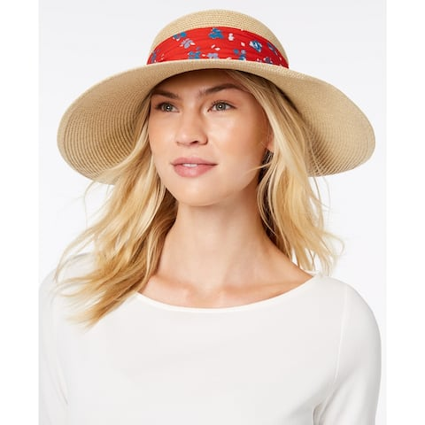 Nine West Women's Packable Bow Scarf Floppy Sun Hat
