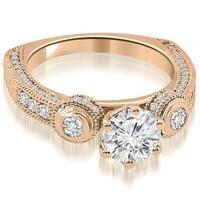 1.43 cttw. 14K Rose Gold European Shank Three-Stone Diamond Engagement Ring