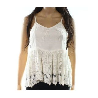 Ella Moss NEW White Ivory Womens Size S Floral-Lace V-Neck Cami Top